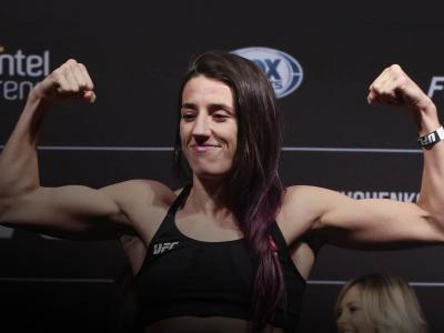 Marina Rodriguez poses on the scale during the UFC FIght Night official weigh-in at Antel Arena on August 9, 2019 in Montevideo, Uruguay. (Photo by Alexandre Schneider /Zuffa LLC/Zuffa LLC)