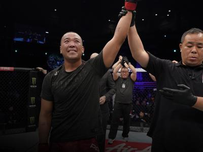 Junyong Park of South Korea celebrates after defeating Marc-Andre Barriault of Canada in their middleweight fight during the UFC Fight Night event at Sajik Arena 3 on December 21, 2019 in Busan, South Korea. (Photo by Jeff Bottari/Zuffa LLC)