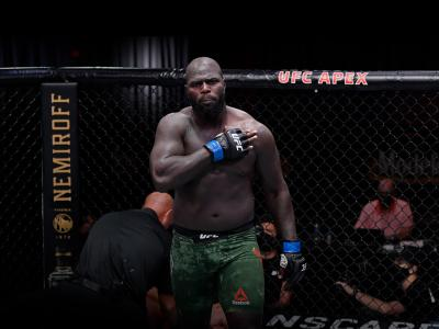Jairzinho Rozenstruik of Suriname reacts after his knockout victory over Junior Dos Santos of Brazil in their heavyweight bout during the UFC 252 event at UFC APEX on August 15, 2020 in Las Vegas, Nevada. (Photo by Jeff Bottari/Zuffa LLC)