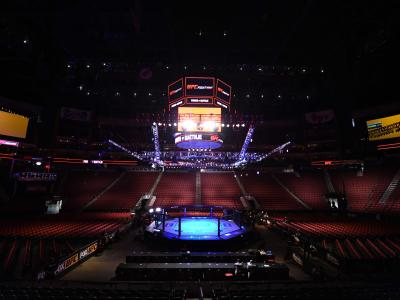 A general view of the Octagon before the UFC Fight Night event at the Gila Rivera Arena on April 14, 2018 in Glendale, Arizona. (Photo by Josh Hedges/Zuffa LLC