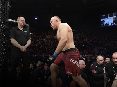 Aleksei Oleinik of Russia prepares to enter the Octagon prior to his heavyweight bout against Alistair Overeem of The Netherlands during the UFC Fight Night event at Yubileyny Sports Palace on April 20, 2019 in Saint Petersburg, Russia. (Photo by Jeff Bottari/Zuffa LLC)