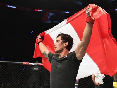 Claudio Puelles of Peru celebrates his victory over Marcos Mariano of Brazil in their lightweight bout during the UFC Fight Night event on September 21, 2019 in Mexico City, Mexico. (Photo by Josh Hedges/Zuffa LLC)
