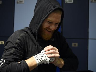 Matt Frevola has his hands wrapped prior to his fight during the UFC 257 event inside Etihad Arena on UFC Fight Island on January 23, 2021 in Abu Dhabi, United Arab Emirates. (Photo by Chris Unger/Zuffa LLC)