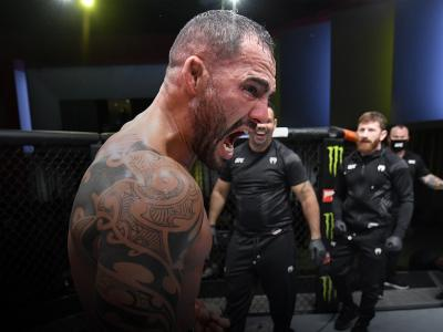Santiago Ponzinibbio of Argentina reacts after his victory over Miguel Baeza in a welterweight fight during the UFC Fight Night event at UFC APEX on June 05, 2021 in Las Vegas, Nevada. (Photo by Jeff Bottari/Zuffa LLC)