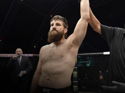 Tanner Boser of Canada celebrates after his knockout victory over Raphael Pessoa of Brazil in their heavyweight fight during the UFC Fight Night event inside Flash Forum on UFC Fight Island on July 26, 2020 in Yas Island, Abu Dhabi, United Arab Emirates. (Photo by Jeff Bottari/Zuffa LLC)