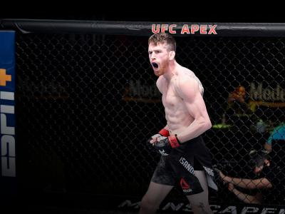 Cory Sandhagen reacts after his knockout victory over Frankie Edgar in their bantamweight fight during the UFC Fight Night event at UFC APEX on February 06, 2021 in Las Vegas, Nevada. (Photo by Chris Unger/Zuffa LLC)