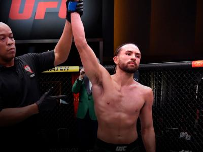 Kyler Phillips reacts after his victory over Song Yadong of China in their bantamweight fight during the UFC 259 event at UFC APEX on March 06, 2021 in Las Vegas, Nevada. (Photo by Jeff Bottari/Zuffa LLC)