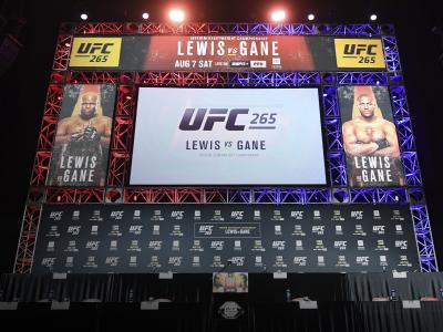 A general view of the stage prior to the UFC 265 press conference at Toyota Center on August 05, 2021 in Houston, Texas. (Photo by Josh Hedges/Zuffa LLC)