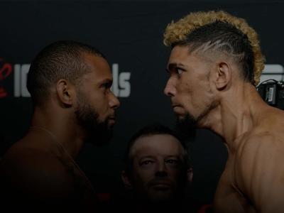 Encarada entre Thiago Marreta e Johnny Walker na pesagem do UFC Vegas 38