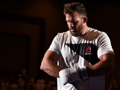 HOUSTON, TX - SEPTEMBER 30:  Ryan Bader holds an open training session for fans and media at the Westin Hotel on September 30, 2015 in Houston, Texas. (Photo by Josh Hedges/Zuffa LLC/Zuffa LLC via Getty Images)