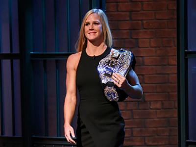 LATE NIGHT WITH SETH MEYERS -- Episode 293 -- Pictured: Holly Holm, UFC Women's Bantamweight Champion, arrives on November 18, 2015 -- (Photo by: Lloyd Bishop/NBC/NBCU Photo Bank via Getty Images)