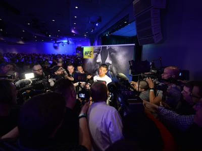 LAS VEGAS, NV - MARCH 2:   Nate Diaz speaks to the media at the  Jabbawockeez Theater in the MGM Grand Hotel/Casino on March 2, 2016 in Las Vegas, Nevada. (Photo by Brandon Magnus/Zuffa LLC/Zuffa LLC via Getty Images)