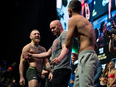LAS VEGAS, NV - MARCH 4:   Conor McGregor and Nate Diaz face off during the UFC 196 Weigh-in in the MGM Grand Garden Arena on March 4, 2016 in Las Vegas, Nevada. (Photo by Brandon Magnus/Zuffa LLC/Zuffa LLC via Getty Images)