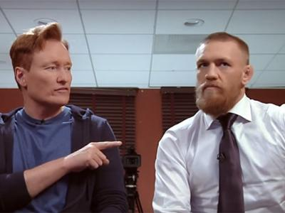 TV Late Night host Conan O'Brien hosts UFC fighter Conor McGregor on his TBS show March 2016