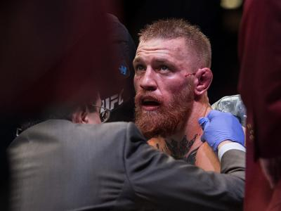 LAS VEGAS, NV - MARCH 5:   Conor McGregor reacts to his submission loss to Nate Diaz in their welterweight bout during the UFC 196 in the MGM Grand Garden Arena on March 5, 2016 in Las Vegas, Nevada. (Photo by Brandon Magnus/Zuffa LLC/Zuffa LLC via Getty