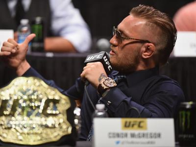 LAS VEGAS, NV - SEPTEMBER 04:  UFC featherweight champion Conor McGregor speaks to the media and fans during the UFC's Go Big launch event inside MGM Grand Garden Arena on September 4, 2015 in Las Vegas, Nevada.  (Photo by Josh Hedges/Zuffa LLC/Zuffa LLC