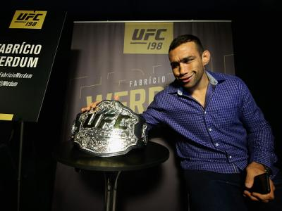 CURITIBA, BRAZIL - MAY 12:  Heavyweight champion Fabricio Werdum of Brazil speaks to the media during Ultimate Media Day at Arena da Baixada stadium on May 12, 2016 in Curitiba, Parana, Brazil.  (Photo by Buda Mendes/Zuffa LLC/Zuffa LLC via Getty Images)