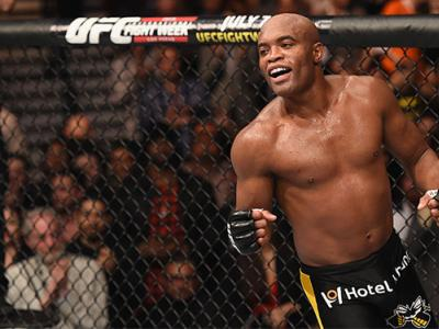 LAS VEGAS, NV - JANUARY 31:  Anderson Silva reacts to his victory over Nick Diaz in their middleweight bout during the UFC 183 event at the MGM Grand Garden Arena on January 31, 2015 in Las Vegas, Nevada.  (Photo by Josh Hedges/Zuffa LLC/Zuffa LLC via Get