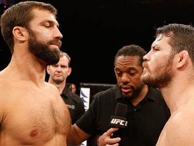 SYDNEY, NSW - NOVEMBER 08:  (L-R) Opponents Luke Rockhold of the United States and Michael Bisping of England face off before their middleweight bout during the UFC Fight Night event inside Allphones Arena on November 8, 2014 in Sydney, Australia.  (Photo