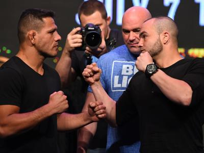 LAS VEGAS, NV - APRIL 20:   (L-R) Opponents Rafael Dos Anjos of Brazil and Eddie Alvarez face off during the UFC 200 press conference at the MGM Grand Garden Arena on April 20, 2016 in Las Vegas, Nevada. (Photo by Josh Hedges/Zuffa LLC/Zuffa LLC via Getty