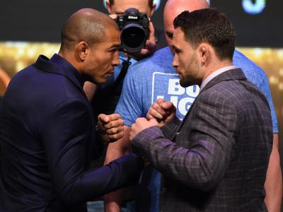 LAS VEGAS, NV - APRIL 20:   (L-R) Opponents Jose Aldo of Brazil and Frankie Edgar face off during the UFC 200 press conference at the MGM Grand Garden Arena on April 20, 2016 in Las Vegas, Nevada. (Photo by Josh Hedges/Zuffa LLC/Zuffa LLC via Getty Images