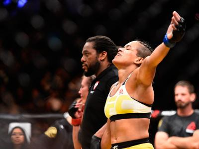 LAS VEGAS, NV - JULY 09:  Amanda Nunes of Brazil reacts after defeating Miesha Tate during the UFC 200 event on July 9, 2016 at T-Mobile Arena in Las Vegas, Nevada.  (Photo by Jeff Bottari/Zuffa LLC/Zuffa LLC via Getty Images)