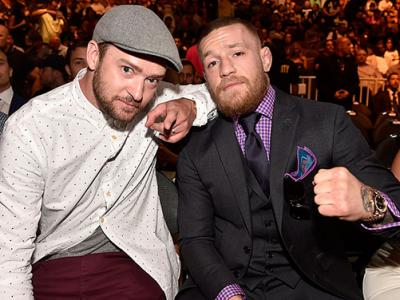 LAS VEGAS, NV - JULY 09: (L-R) Singer Justin Timberlake and UFC featherweight champion Conor McGregor in attendance during the UFC 200 event on July 9, 2016 at T-Mobile Arena in Las Vegas, Nevada.  (Photo by David Becker/Zuffa LLC/Zuffa LLC via Getty Imag