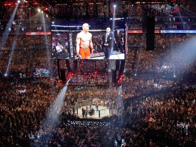 TORONTO, ON - APRIL 30:  Georges St-Pierre enters the octagon to fight Jake Shields before their Welterweight Championship bout at UFC 129 in the Rogers Centre on April 30, 2011 in Toronto, Ontario.  (Photo by Tom Szczerbowski/Zuffa LLC/Zuffa LLC via Gett