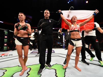 ATLANTA, GA - JULY 30:  (R-L) Karolina Kowalkiewicz celebrates her victory over Rose Namajunas in their women's strawweight bout during the UFC 201 event on July 30, 2016 at Philips Arena in Atlanta, Georgia. (Photo by Jeff Bottari/Zuffa LLC/Zuffa LLC via