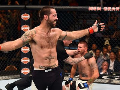 LAS VEGAS, NV - JULY 11:  Matt Brown reacts to his victory over Tim Means in their welterweight fight during the UFC 189 event inside MGM Grand Garden Arena on July 11, 2015 in Las Vegas, Nevada.  (Photo by Josh Hedges/Zuffa LLC/Zuffa LLC via Getty Images