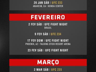 Veja o calendário do UFC para 2019