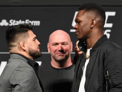 Opponents Kelvin Gastelum and Israel Adesanya face off during the UFC 236 Press Conference - HERO