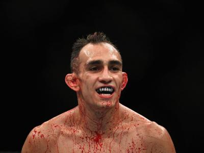 Tony Ferguson looks on while competing against Anthony Pettis