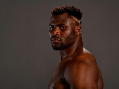 Francis Ngannou of Cameroon poses for a post fight portrait backstage during the UFC Fight Night
