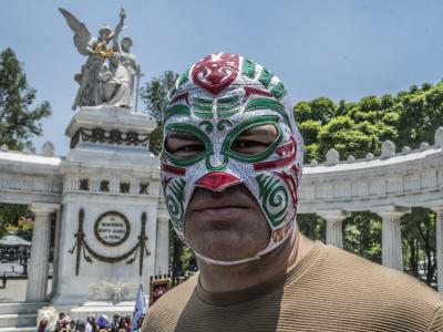 Cain Velasquez with his luchador mask in Mexico City for his Lucha Libre debut on AAA promotion