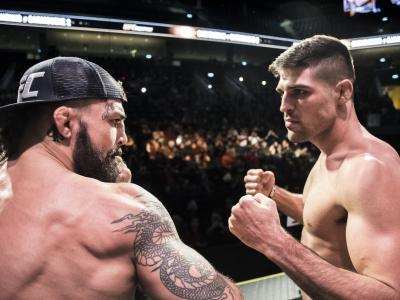 Vicente Luque and Mike Perry face off during UFC Uruguay ceremonial weighins
