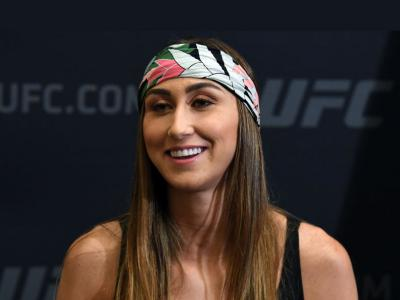 Sabina Mazo of Colombia interacts with media during the UFC 241 Ultimate Media Day