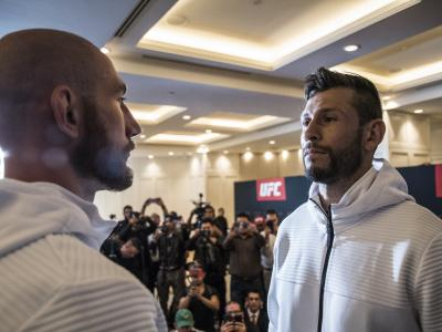 Kyle Nelson and Marco Polo Reyes face off during UFC Mexico Ultimate Media Day