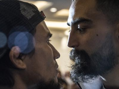 Carlos Huachin and Jose Quinonez face off during UFC Mexico Ultimate Media Day