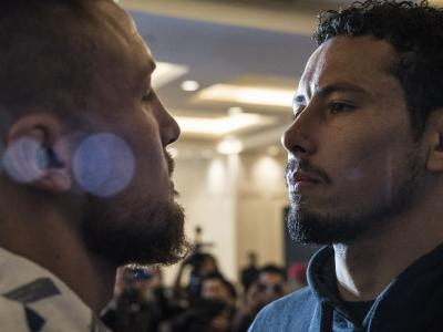 Steven Peterson and Martin Bravo face off during UFC Mexico Ultimate Media Day
