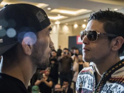 Askar Askarov and Brandon Moreno face off during UFC Mexico Ultimate Media Day