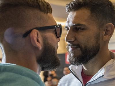 Jeremy Stephens and Yair Rodriguez face off during UFC Mexico Ultimate Media Day