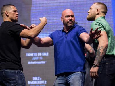 LAS VEGAS, NV - JULY 07:  (L-R) Nate Diaz and Conor McGregor face off during the UFC 202 - Press Conference at TMobile Arena on July 7, 2016 in Las Vegas, Nevada. (Photo by Brandon Magnus/Zuffa LLC/Zuffa LLC via Getty Images)
