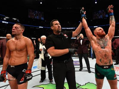 LAS VEGAS, NV - AUGUST 20:  Conor McGregor of Ireland celebrates his win over Nate Diaz in their welterweight bout during the UFC 202 event at T-Mobile Arena on August 20, 2016 in Las Vegas, Nevada.  (Photo by Josh Hedges/Zuffa LLC/Zuffa LLC via Getty Ima