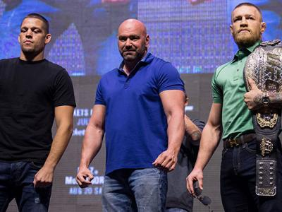 LAS VEGAS, NV - JULY 07:  (L-R) Nate Diaz and Conor McGregor pose for a picture during the UFC 202 - Press Conference at TMobile Arena on July 7, 2016 in Las Vegas, Nevada. (Photo by Brandon Magnus/Zuffa LLC/Zuffa LLC via Getty Images)