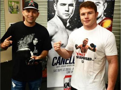 Canelo Alvarez with a Nate Diaz tshirt Photo by https://www.instagram.com/elieseckbach/