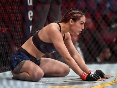 Tatiana Suarez waits in her corner prior to her women's strawweight bout against Nina Ansaroff during the UFC 238