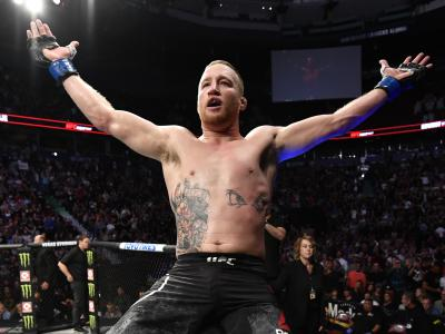 Justin Gaethje celebrates after defeating Donald Cerrone in their lightweight bout during the UFC Fight Night