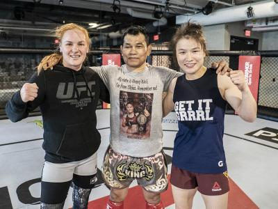 Valentina Shevchenko and Weili Zhang at the UFC Performance Institute