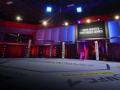 A general view of the Octagon prior to Dana White's Contender Series season 4 week one at UFC APEX on August 04, 2020 in Las Vegas, Nevada. (Photo by Chris Unger/DWCS LLC/Zuffa LLC)